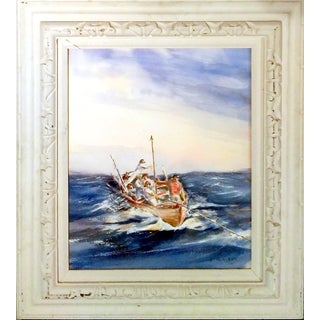 Whaler's Seascape Watercolor by E. Wright