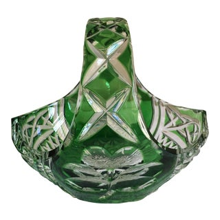 Handcut Emerald Cased Crystal Basket Waterford Signed