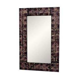 Purple Tin Mirror with Square Design