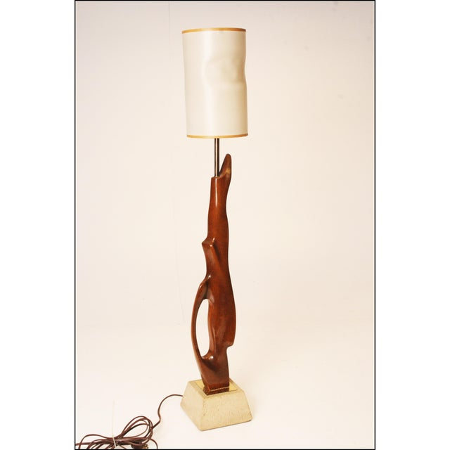mid century modern sculptural wood table lamp with travertine base chairish. Black Bedroom Furniture Sets. Home Design Ideas