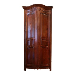 18th C. French Carved Walnut Bow Corner Cabinet