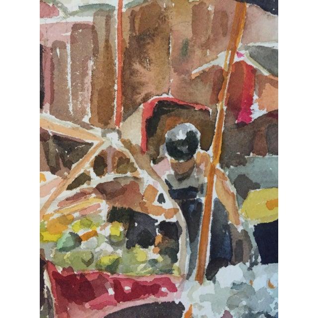 Thelma Moody Gouache Farmer's Market Painting - Image 5 of 7