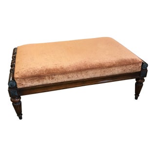 Wood Frame and Velour Ottoman