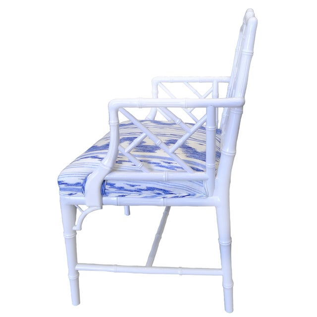 Image of White & Blue Faux Bamboo Armchair