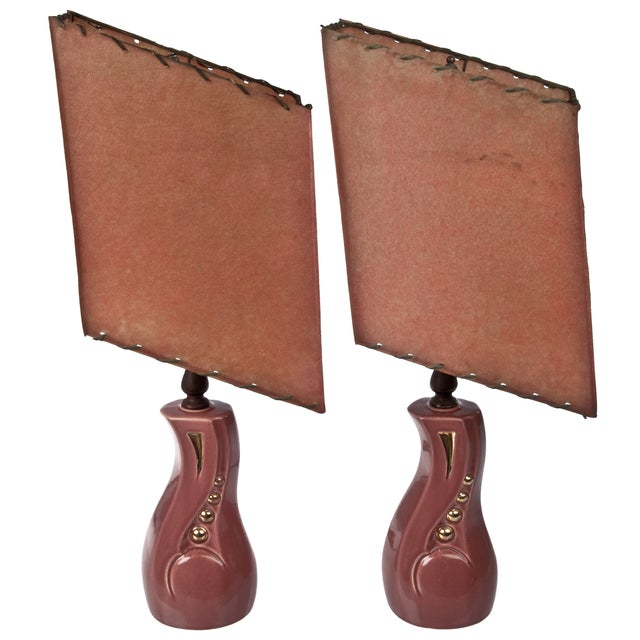 Image of Vintage Mid-Century Geometric Lamps - a Pair