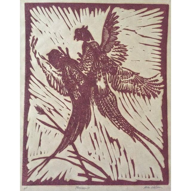 Pheasants Woodblock Print M. Nelson - Image 3 of 4