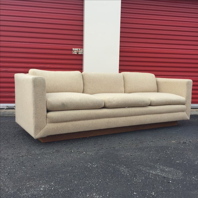 Mid Century Cream Sofa on Wood by Gunlocke Company - Image 7 of 10