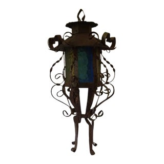 Vintage Boho Style Colored Glass Panels & Tin Lantern