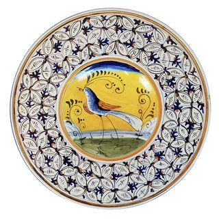 Hand-Painted Yellow & Blue Italian Plate