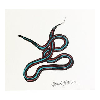 Neon Blue Garter Snake No. 3 Original Painting