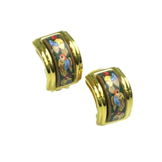 Hermes Cloisonne & Palladium Clip Earrings