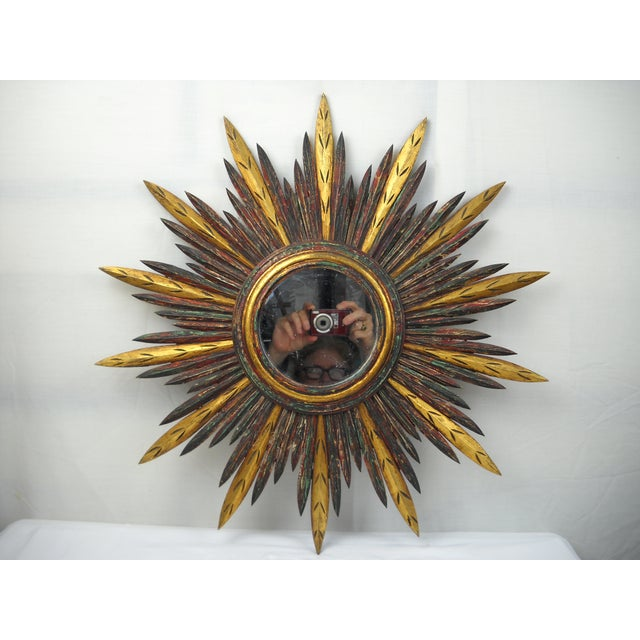 French Carved Wood Starburst Mirror - Image 3 of 8