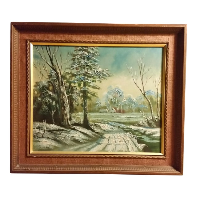 Mid-Century Signed Japanese Oil Painting - Image 1 of 8
