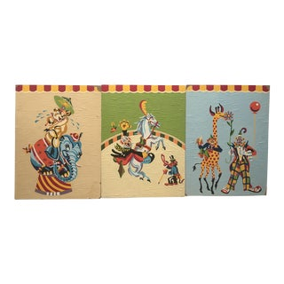"""Mid-Century Crazy Clown Circus Paint by Number Trio - 12"""" x 16"""""""