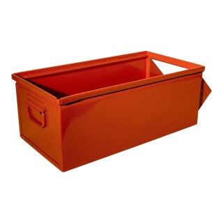 1930s Industrial Safety Orange Storage Bin