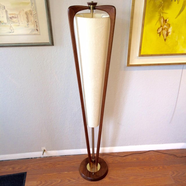 Mid Century Sculptural Floor Lamp With Linen Shade | Chairish