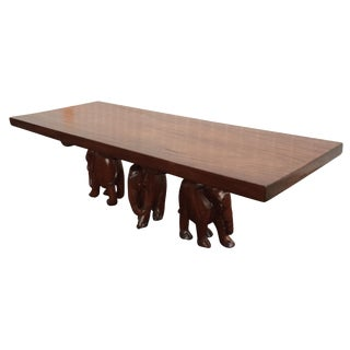 Vintage Carved Walnut Elephant Coffee Table
