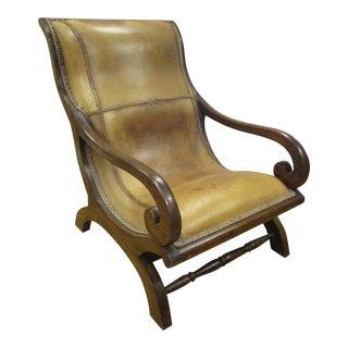 Vintage Leather & Mahogany Plantation Chair