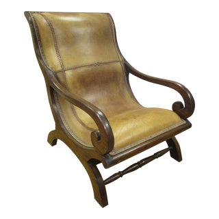 Vintage Leather & Mahogany Plantation Chair