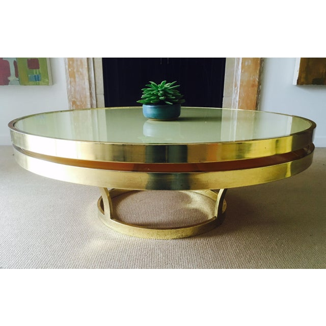 Larayia Swivel Glass Coffee Table: Mod Two Tier Brass & Glass Swivel Coffee Table