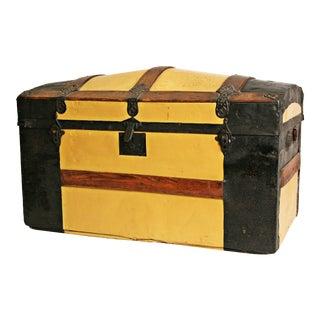 Vintage Yellow Wooden Steamer Trunk
