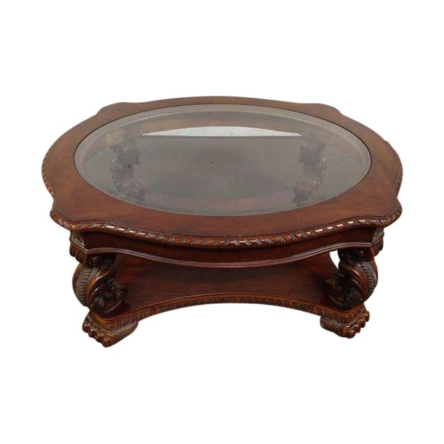 Rococo-Style Carved Mahogany Coffee Table - Image 1 of 7