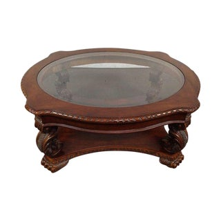 Rococo-Style Carved Mahogany Coffee Table