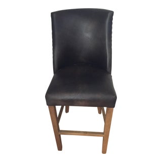 1940s Vintage French Barrelback Distressed Leather Stool