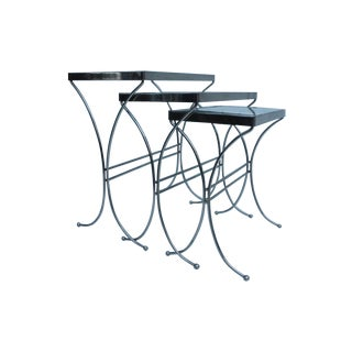 Vintage Chrome & Glass Nesting Tables - Set of 3