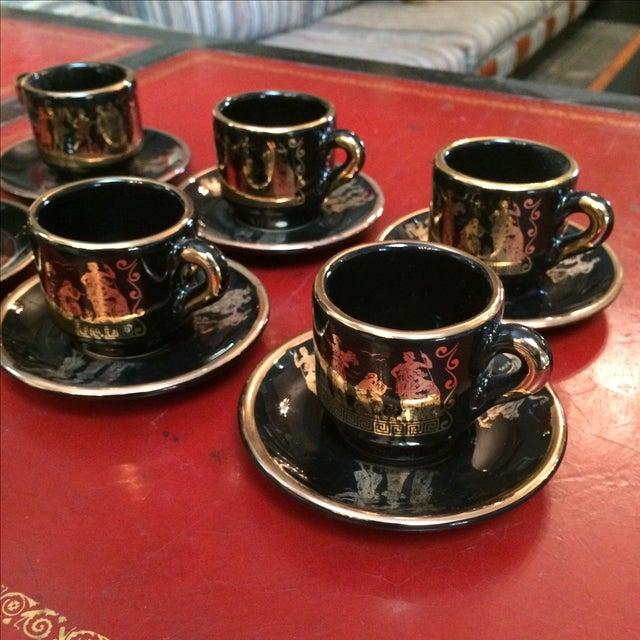 Greek Black & 24k Gold Demitasse Set - S/12 - Image 3 of 5