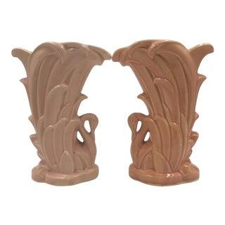 McCoy Pink Swan Vases - A Pair