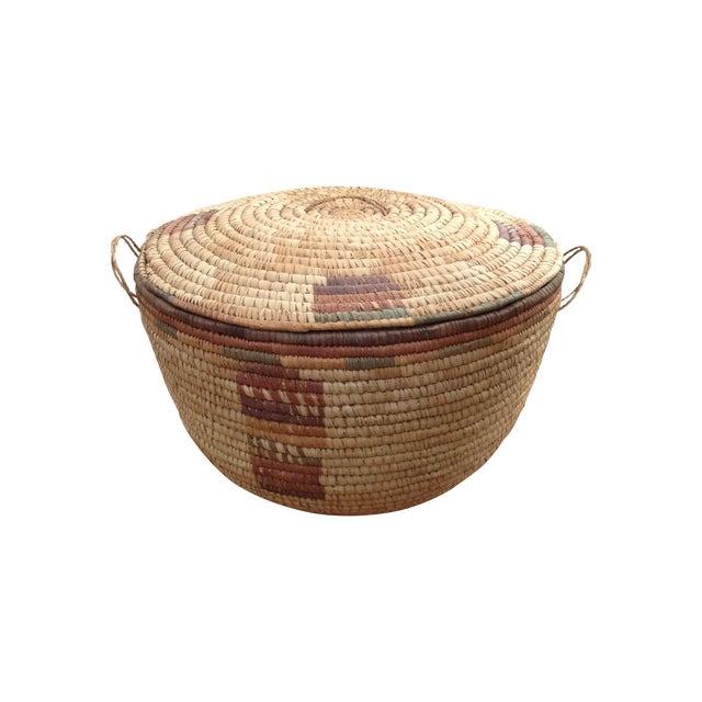 Large Hand Woven African Basket - Image 1 of 7