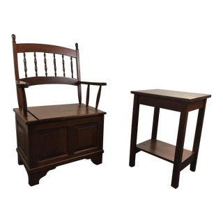 Vintage Carved Wood Armchair With Side Table