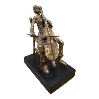 Brass Cello Player Sculpture