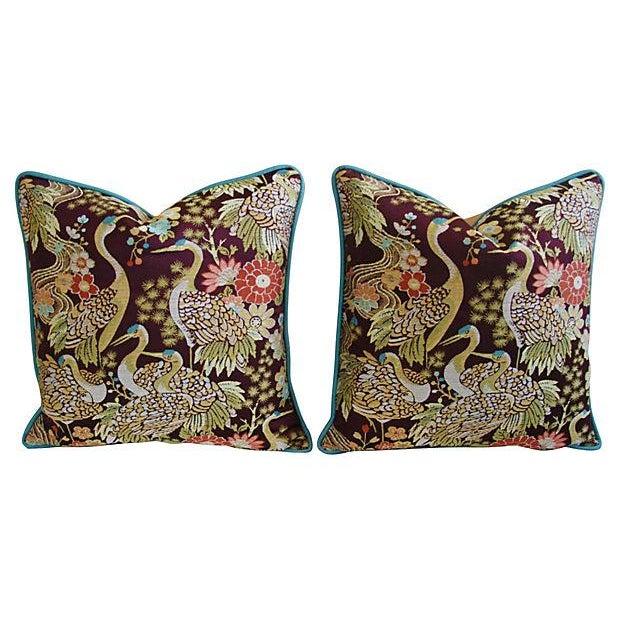 Designer Embroidered Crane Pillows - Pair - Image 8 of 8