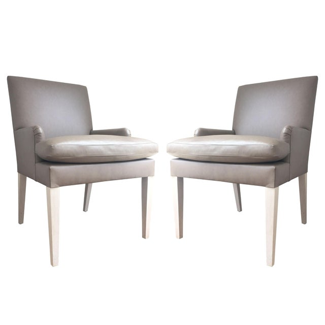 Image of Contemporary Leather Accent Dining Chairs - Pair