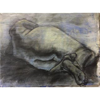 "Original ""Reclining Nude"" Acrylic and Charcoal Drawing by Christine Bush Roman"