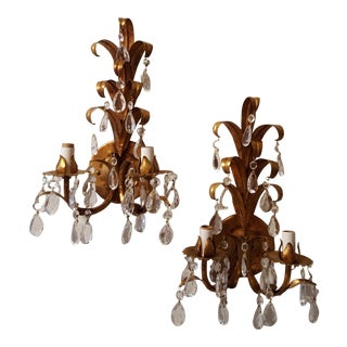 Hollywood Regency Gilt Tole Sconces - A Pair