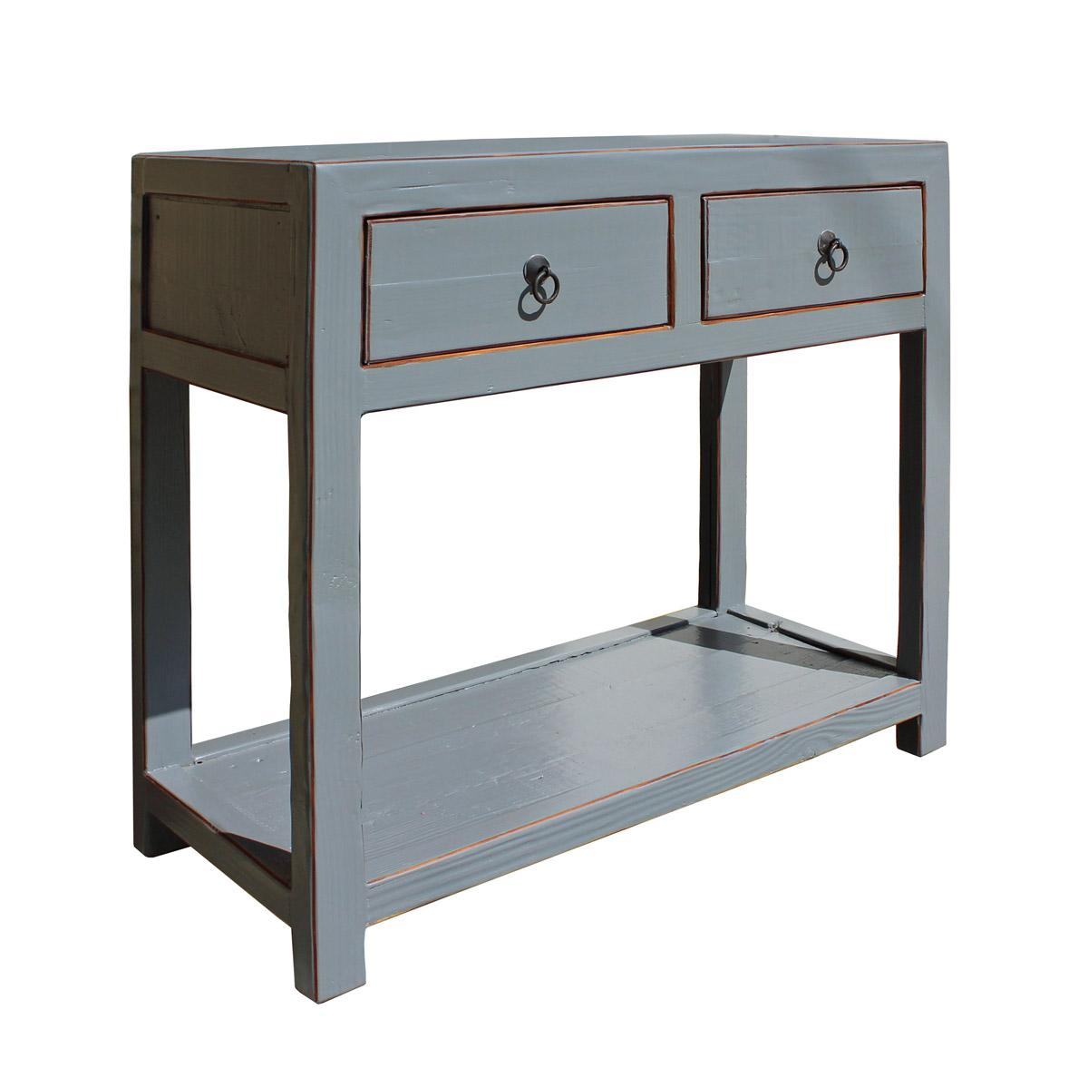 Chinese Gray Raw Wood Console Table   Image 3 Of 6
