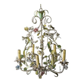 Vintage Italian Tole Five Arm Chandelier