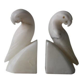 Italian Marble Parrot Bookends - a Pair