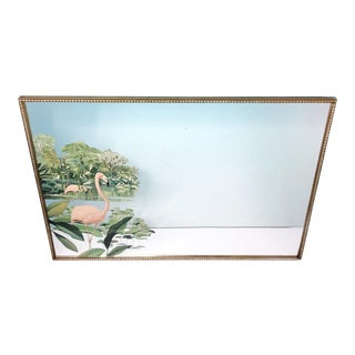 Mid-Century Robert Stern Pink Flamingo Print Wall Mirror