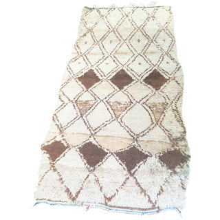 Vintage Brown & Cream Moroccan Rug - 3′1″ x 6′