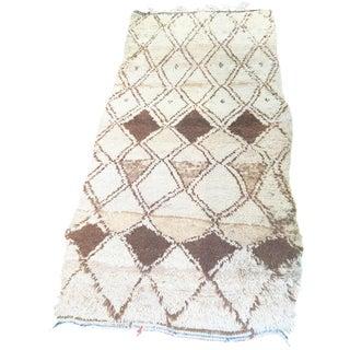 Vintage Brown & Cream Moroccan Rug - 3′1″ x 6′
