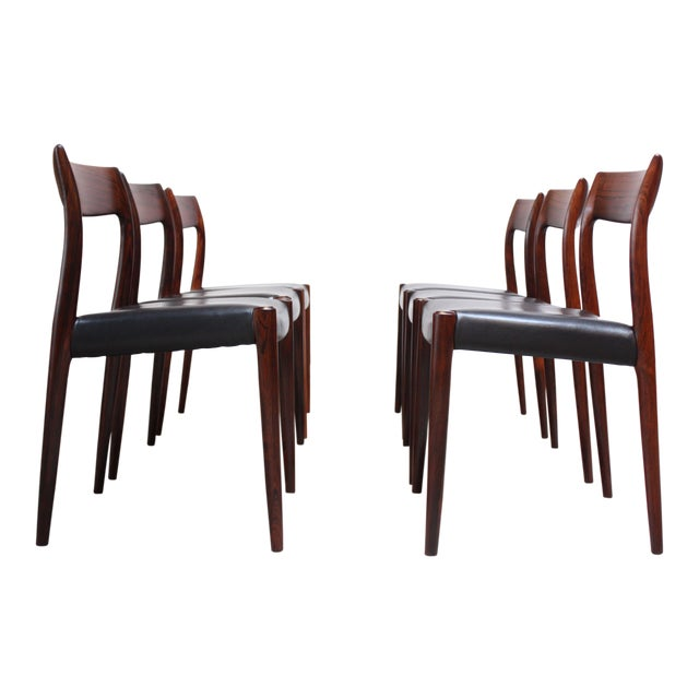 Set of Six Rosewood #77 Dining Chairs by Niels O. Møller - Image 1 of 11