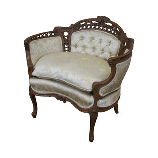 Vintage Louis XV Bergere Canape with Carved Birds