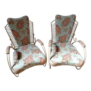 Vintage Italian Wrought Iron Chairs - a Pair