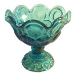 "Image of L.E. Smith ""Moon and Stars"" Pattern Blue Glass Footed Compote Dish"