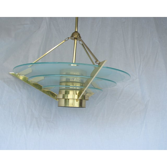 Art Deco Revival Tiered Brass & Glass Chandelier - Image 3 of 5