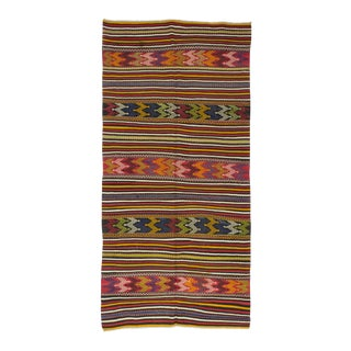 Handwoven Vintage Turkish Kilim Rug - 4′5″ × 9′
